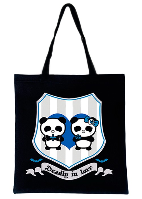 VALENTINES - Deadly in Love Pandas - Blue Tote Bag
