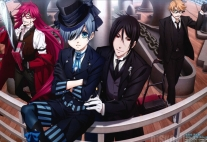 Плакат бумажный Kuroshitsuji: Book of the Atlantic Grell, Ciel, Sebastian, Ronald