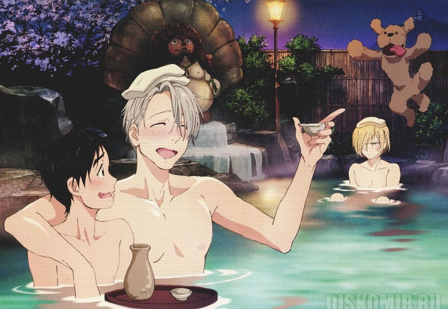 Плакат бумажный Yuri!!! on Ice - Victor, Yuri and Yuuri Hot Spring