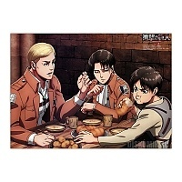 Плакат бумажный Shingeki no Kyojin - Levi Ackerman, Eren Yeager, Erwin Smith